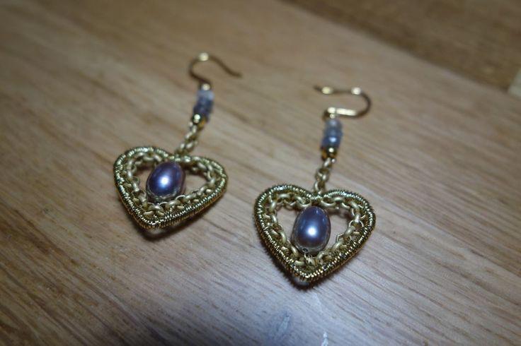 Echte Perlen Ohrringe (Herz),Draht Kunst/ Wire Work