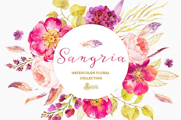 Sangria. Watercolor collection by OctopusArtis on @creativemarket