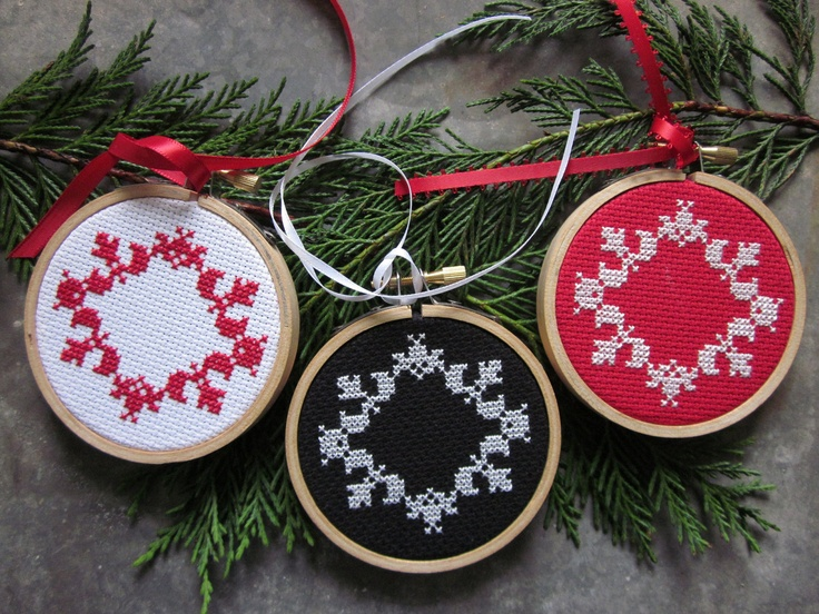 elegant ornament (red, white, or black) d.i.y. cross-stitch kit - need to make some of these in blackwork.