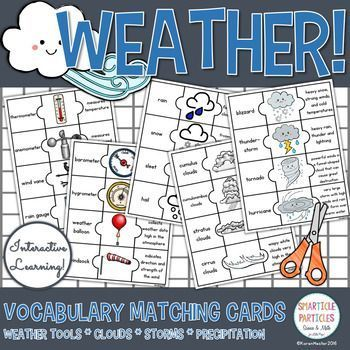 Hands on matching puzzles for learning weather vocabulary. Grades 2 - 3