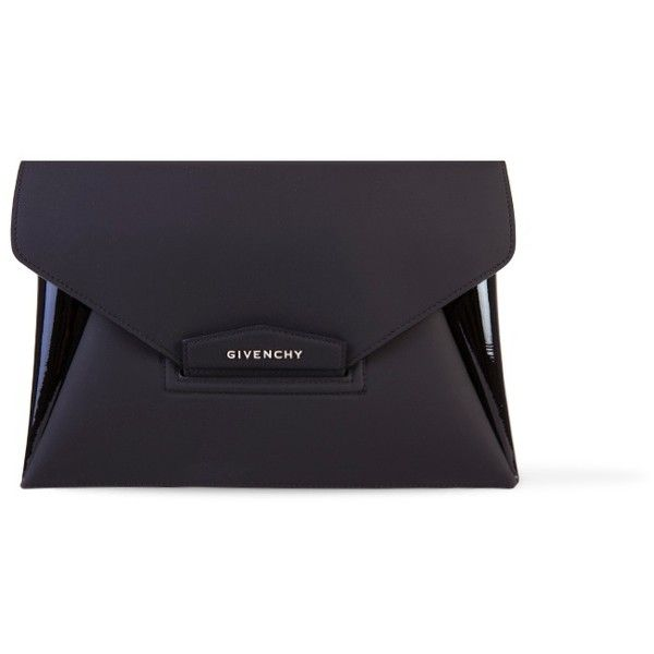 Givenchy Antigona Envelope Clutch (825 CHF) ❤ liked on Polyvore featuring bags, handbags, clutches, purses, envelope clutch bag, givenchy purse, givenchy handbags, black handbags and black envelope clutch bag