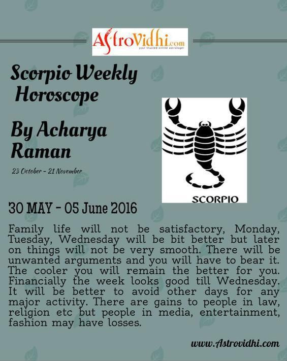 Check your Scorpio Weekly Horoscope (30/05/2016 - 05/06/2016).  #scorpio #weekly_horoscope