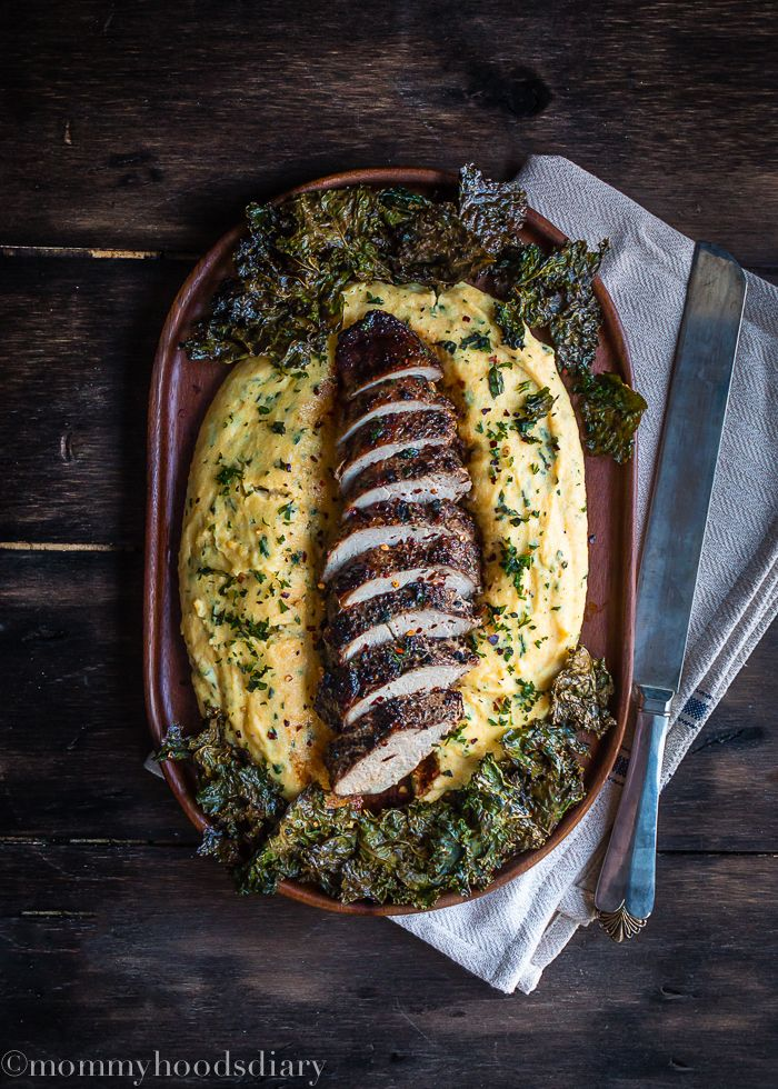 Peppercorn and Garlic Pork Tenderloin with Ricotta Herb Polenta - A delicious, quick and easy dinner on the table in 30 minutes or less   Mommyhood's Diary