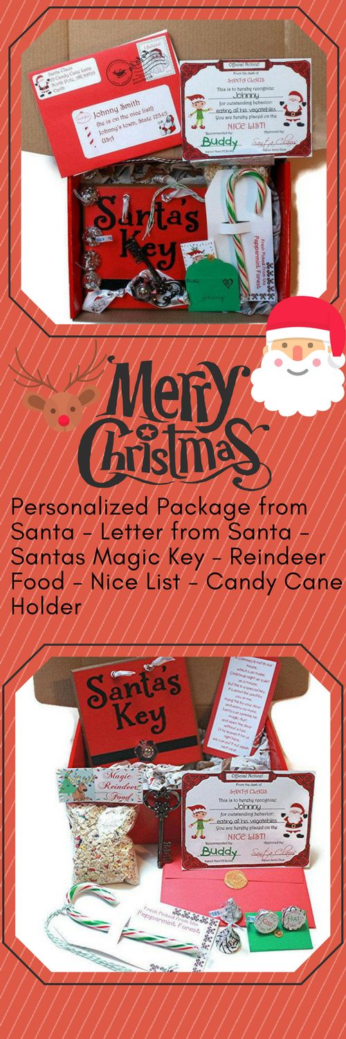"""What child's face wouldn't light up as they open their personalized Christmas  Eve box! The delightful red package from Santa is stamped with fun  stamps from the North Pole guaranteeing """"authenticity"""" from Santa Claus  and the Elves."""