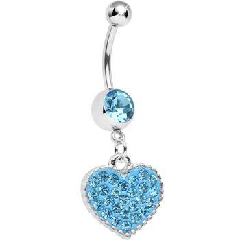 Aqua Gem Morning Sunrise Heart Belly Ring | Body Candy Body Jewelry #bodycandy #piercings #bellyring