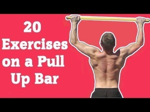 ▶ 20 Exercises on a Pull Up Bar - YouTube Some of these are totally insane but there's a lot of good moves to work up to-windsheid wipers etc.