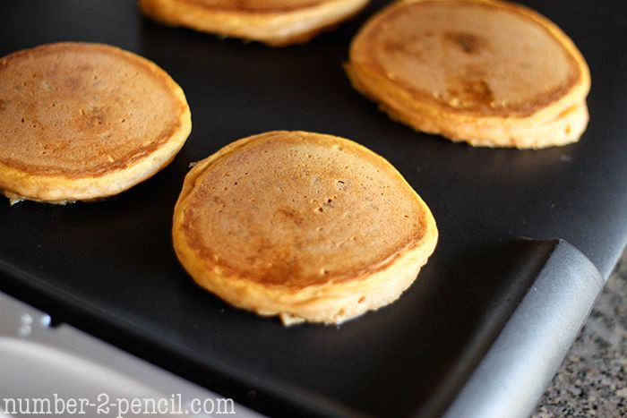 Pumpkin cinnamon roll pancakes - I Heart Nap Time