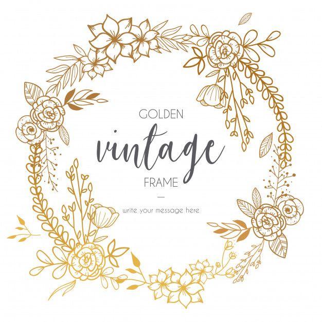 Download Golden Vintage Frame With Flowers For Free Flower Frame Vintage Frames Wreath Drawing