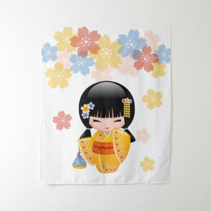 Summer Kokeshi Doll - Yellow Kimono Geisha Girl Tapestry - home gifts ideas decor special unique custom individual customized individualized