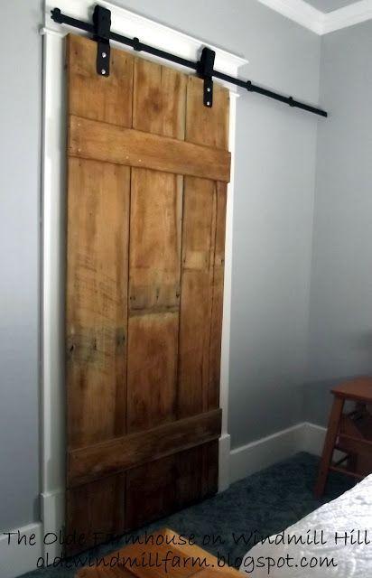 would love to work this barn door idea into the cottage... diy barn door: