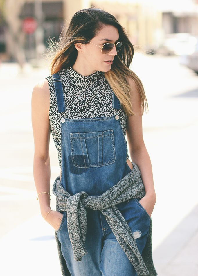 Forever 21 crop top, Cotton On overalls, H&M powder blue suede loafers, Vintage sweater, Ray Ban aviators #forever21 #vintage #sweater #loafers #cottonon #overalls #hm #thriftsandthreads