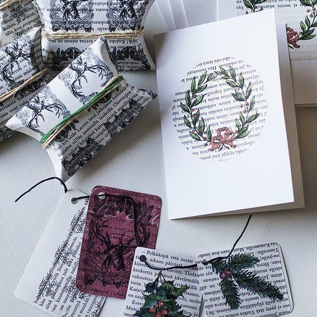 Uusi postaus ja ARVONTA blogissa! / New #recycling themed blog post, go check it out! #ukkonooablog #kierrätyskeskus #näprätuote #arvonta #gifttags #christmascards #crafts #diy #recycledcrafts #blogging #jouluaskartelu #joulukortti #pakettikortti #paketointi