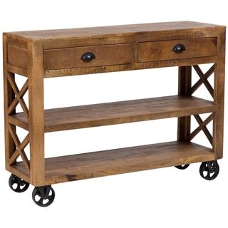Wanderloot barn door wooden trolley console table with 2 for Sofa table with drawers and doors