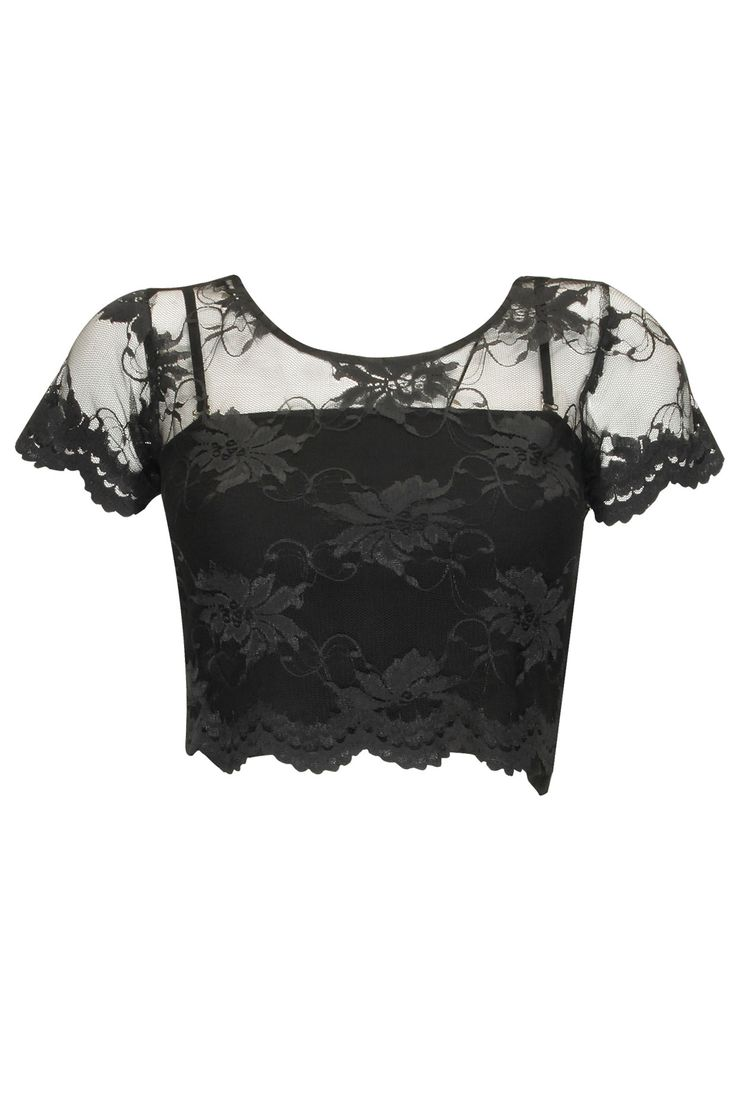 Black chantilly lace crop top available only at Pernia's Pop-Up Shop.