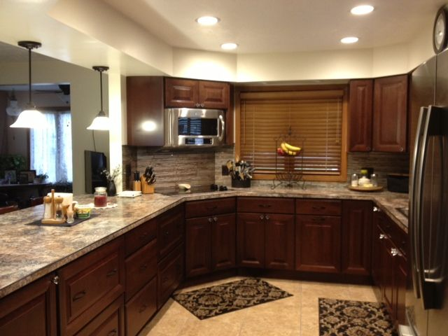 59 best images about cherry kitchen cabinets on pinterest for G shaped kitchen