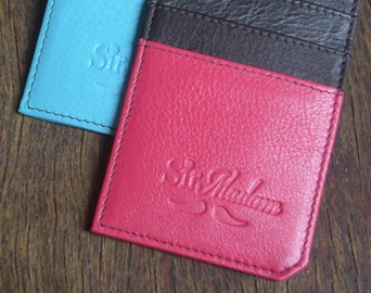 4 funky colours and 2 styles to choose from - the Sir Madam cardholder