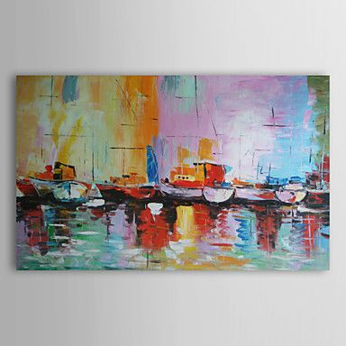Oil+Paintings+One+Panel+Abstract+Boats+on+Shoreside++Hand-painted+Canvas+Ready+to+Hang+–+AUD+$+71.49