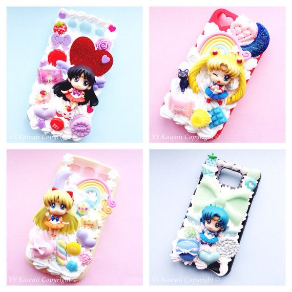 Custom Sailor Moon Kawaii Decoden Phone Case for Iphone 4/4s, 5/5s/5c, Samsung Galaxy S2, S3, S4 or Ipod Touch, HTC One X on Etsy, $20.00