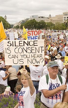 NO.. we cannot hear you!!! What is the possible explanation of the American people's silence on the Bush-Cheney crimes against humanity & the Torture Report - http://www.nytimes.com/2014/12/11/us/politics/torture-report-puts-politicians-in-quiet-mode.html - (Photo: the people protesting a 'BLACK' president - claiming silence is consent) - Their silence is not only consent - but emblematic of their complicit guilt.
