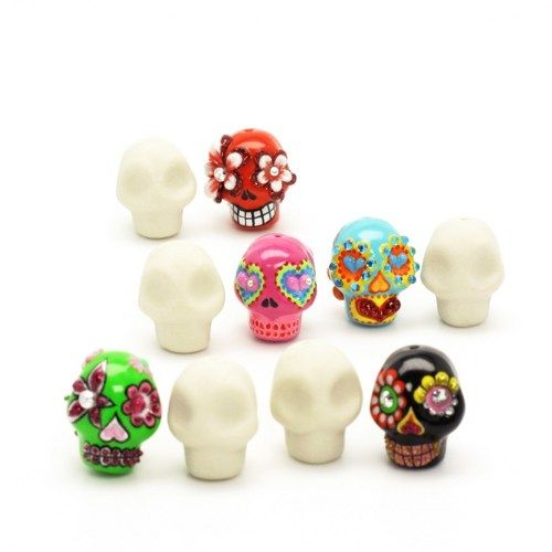100 Skull Ceramic Unpainted Gothic Jewelry DIY Craft Handmade Supplies