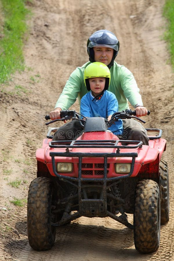 Dad With Son Riding A Quad Bike Affiliate Son Dad Riding