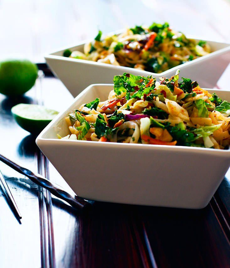 Gluten Free Spicy Rice Noodle Salad - 2 Ways! Cold gluten free noodles are a healthy addition to any meal. You can spice them up and then add a protein for a main meal, or try this dish vegan friendly by just adding veggies and chopped nuts.