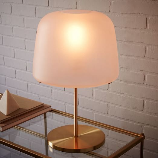 A west elm exclusive we worked with new york city based design studio pelle to create this table lamp youll love the soft light its salt blasted glass