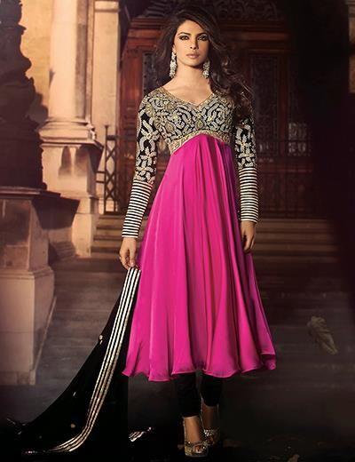 g3fashions Priyanka Chopra magenta satin unstitched chudidar salwar suit Products code: G3-WSS2856 Price: ₹ 5772.00