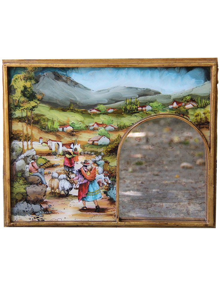 specchio Cajamarca #specchio #Cajamarca #dipinto a #mano su #vetro dall'interno - cornice in legno - #specchio in #stile #antico - #made in #Peru  www.lamamita.it