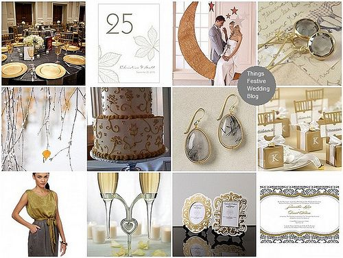Gold and grey fall wedding theme with DIY project