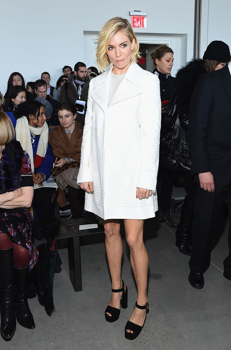 The new york vanity was named perfectly it has that city chic look - Divine Front Row Coat For Sienna Miller In Calvin Klein Collection Photo Mike Coppola
