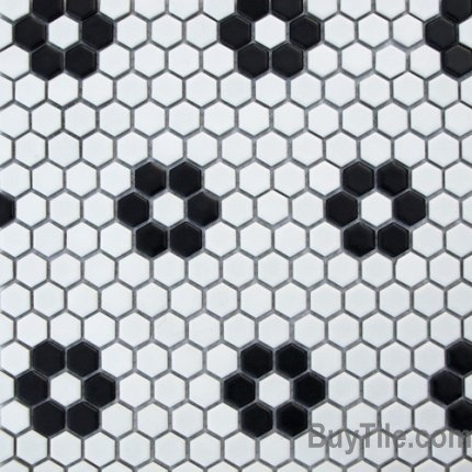 Matte White Black Flower Mini Hexagon Mosaic 5 29 Sf