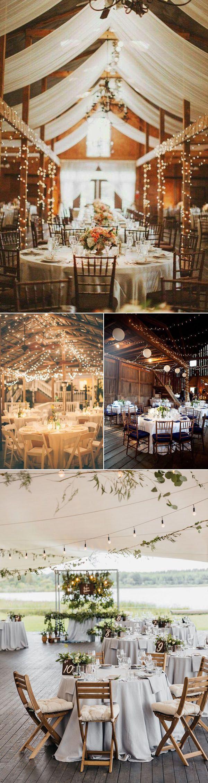 rustikale Hochzeitsempfang-Dekorationsideen mit Lichtern