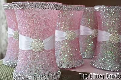 "Glittered Wedding Centerpiece 8"" Vase Iced Pink Special Occassion Decor 
