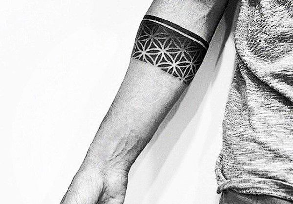 Mens Geometric Flower Of Life Forearm Band Tattoo