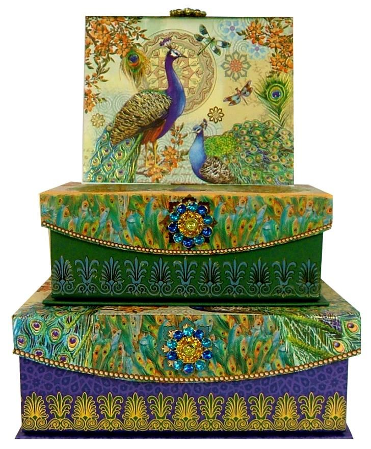 Peacock nesting boxes. Found the same ones  at Michaels . Perfect for keeping clutter off your tables!  >>NYC Discount Diva http://stores.ebay.com/NYC-Discount-Diva