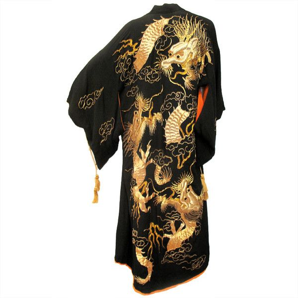 1930s Silk Dragon Gold Embroidered Robe - Estate of Dante ❤ liked on Polyvore featuring intimates, robes, dresses, embroidered robes e silk robe