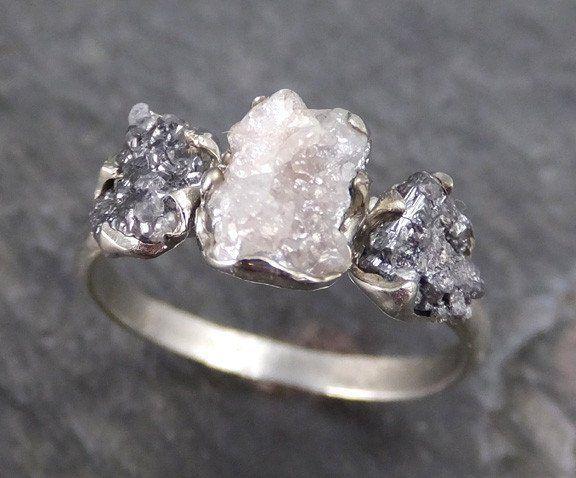 Rough Diamond Engagement Ring Raw 14k White black Gold Wedding Ring Wedding Set diamond three stone Rough Diamond Ring byAngeline