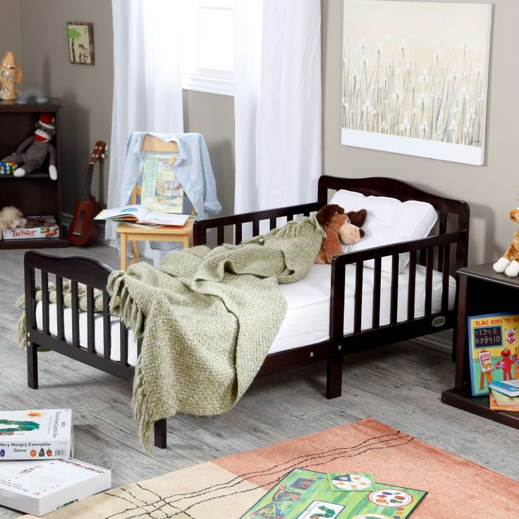 espresso toddler bed frame rails solid wood kids bedroom furniture home nursery