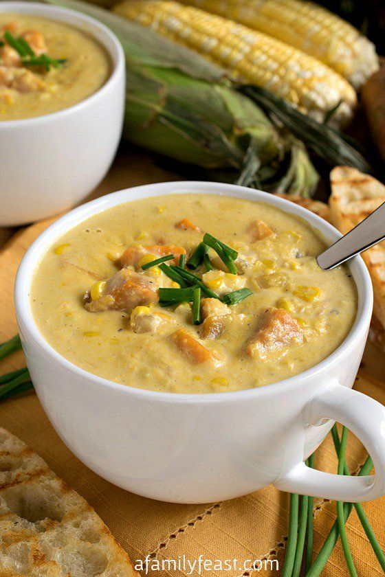 Sweet Corn Soup - http://www.afamilyfeast.com - Summertime in a bowl!  This rich, creamy, easy soup is a perfect way to enjoy in-season corn.