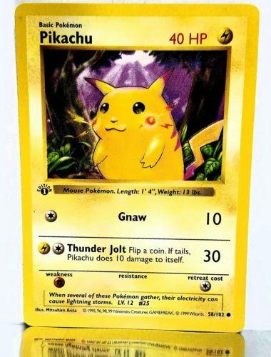 #pokemon 1st Edition Shadowless Pikachu RED CHEEK ERROR 58/102 VERY RARE ERROR BASE SET please retweet