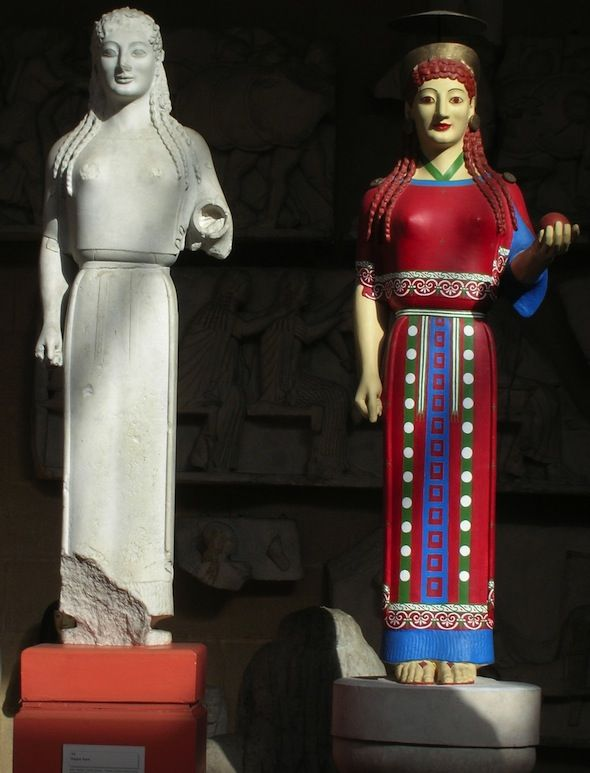 Peplos Kore (young woman) from the Akropolis, painted in her original colours.
