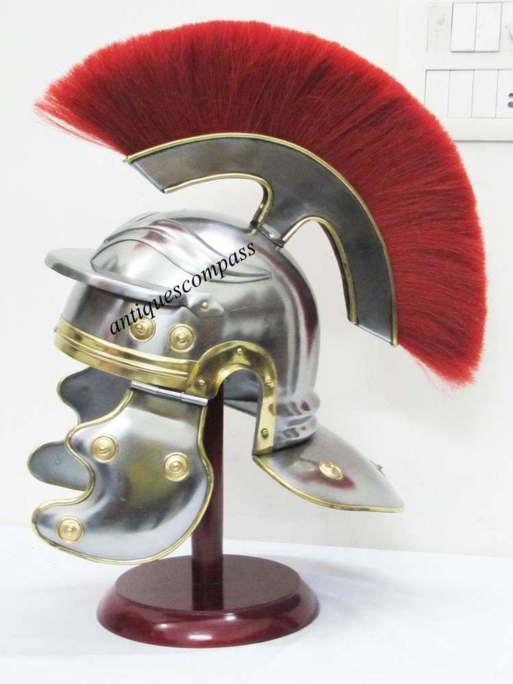 ANCIENT ROMAN CENTURION ARMOR HELMET RED PLUME COLLECTIBLE MEDIEVAL HELMET