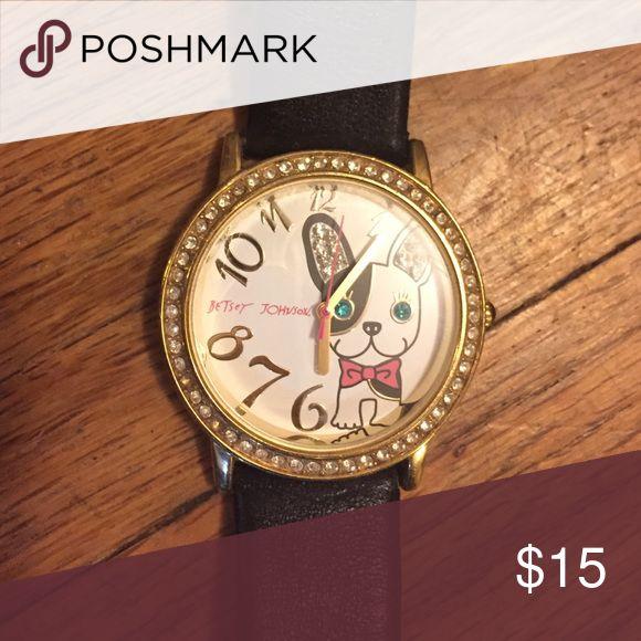 Betsy Johnson French Bulldog watch. Black band, needs battery Betsey Johnson Accessories Watches