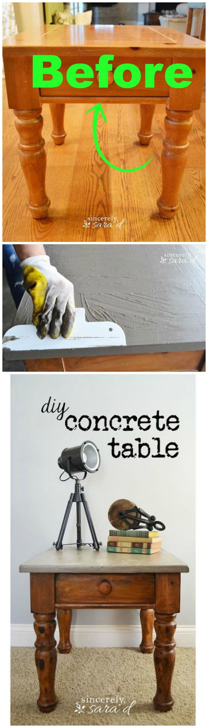 This end table was left by the previous homeowners...and the new homeowner did something amazing with it! DIY Concrete Table