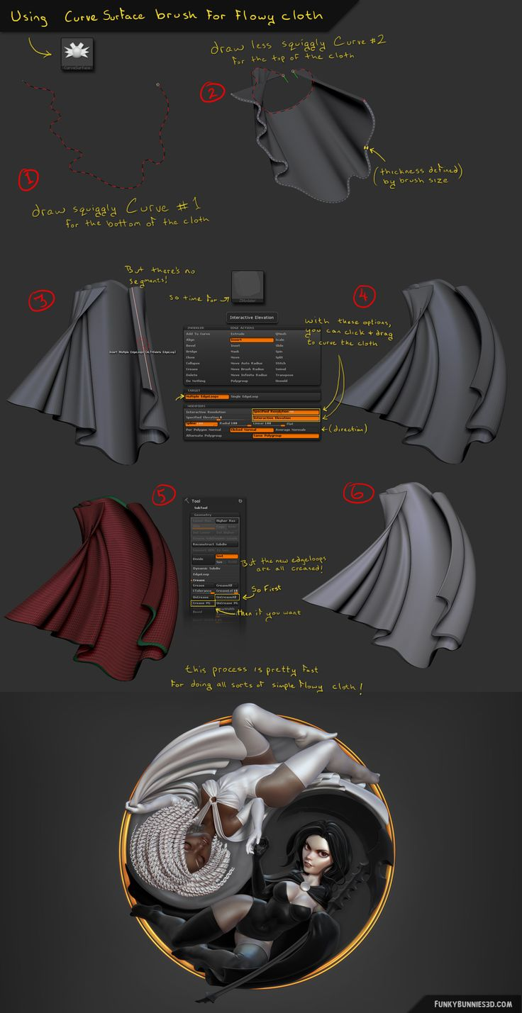 simple flowing stylized cloth with the Curve Surface Brush - Chris Whitaker, Yin Yang - Curve Snap Surface brush will also generate evenly spaced quads if using this instead