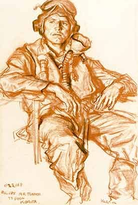 Drawing of Korean War pilot Avenal Richard Turner - Ivor Hele