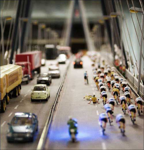 haha, looks like miniatures...but its just the magic of tilt-shift! Learn how to do this at http://trick-photography.org/trick-photography-book-review/