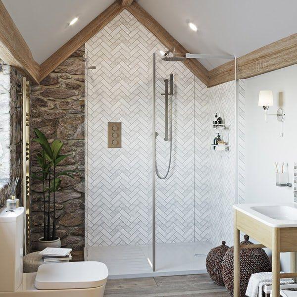 Showerwall Custom Herringbone Acrylic Shower Wall Panel Acrylic Shower Walls Wall Paneling Shower Wall Panels