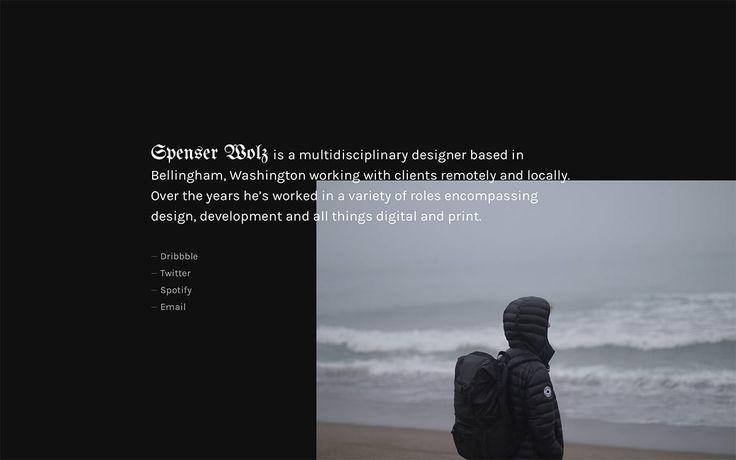 Spenser Wolz http://mindsparklemag.com/website/spenser-wolz/ Spenser Wolz is a multidisciplinary designer based in Bellingham, Washington whose website is awarded as site of the day by Mindsparkle Mag.